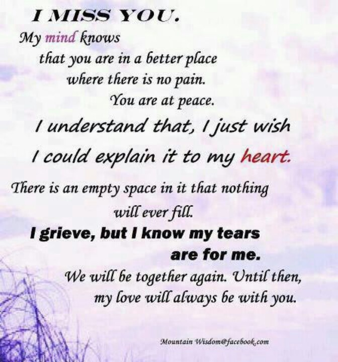 Poem we miss you In Loving
