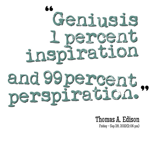 1 inspiration 99 perspiration essay Essay on genius is 1 inspiration and 99 perspiration genius is one percent inspiration, ninety-nine percent perspiration spoken statement (c 1903) published in.