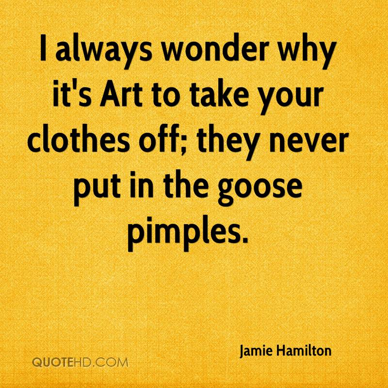 Jamie Hamilton Quote I Always Wonder Why Its Art To Take Your Clothes