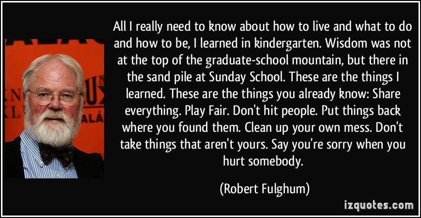 617487717 quote all i really need to know about how to live and what to do and how to be i learned in robert fulghum 230539 - Everything I Learned I Learned In Kindergarten