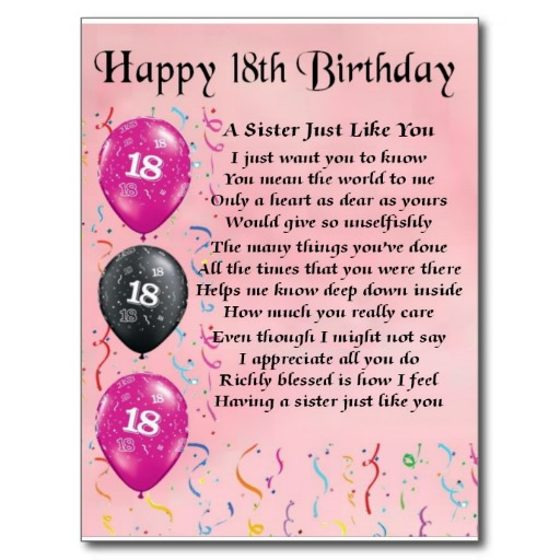 18th Birthday Poems Quotes. QuotesGram