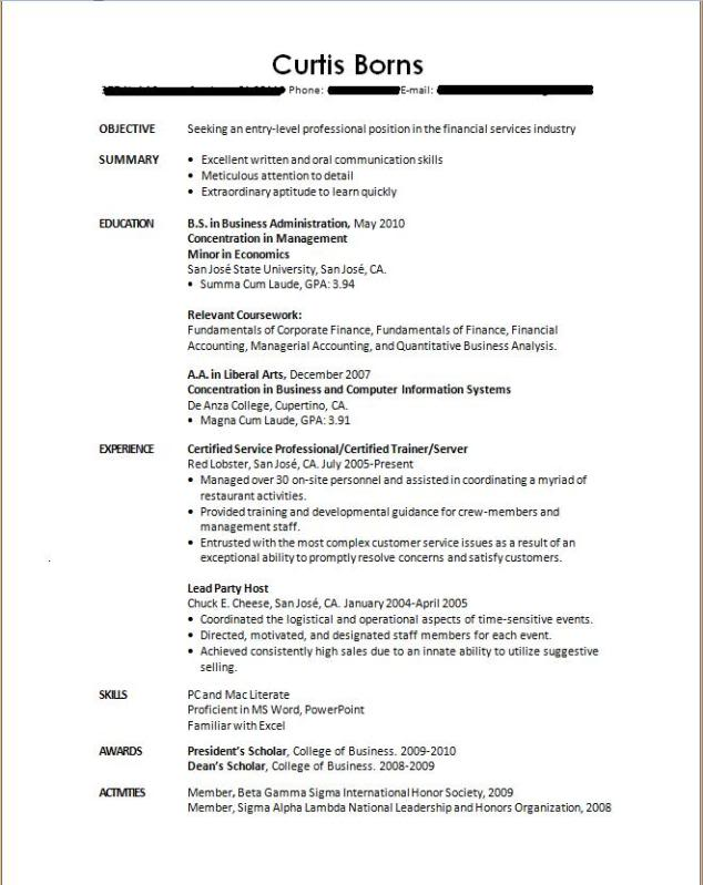 Sample Resume With No Work Experience College Student لم يسبق له