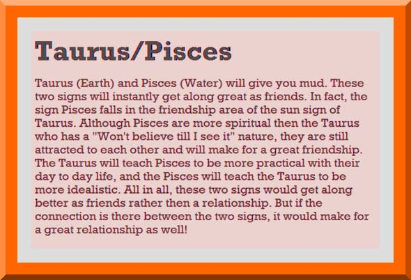 Taurus man and pisces woman