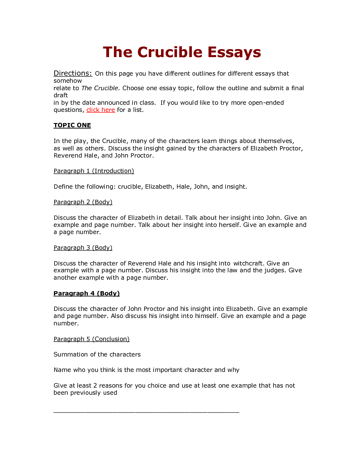 the crucible essay outline 1 thesis paragraph a introduction: the crucible was based in a puritan society where religion was the foundation of everything in the community.
