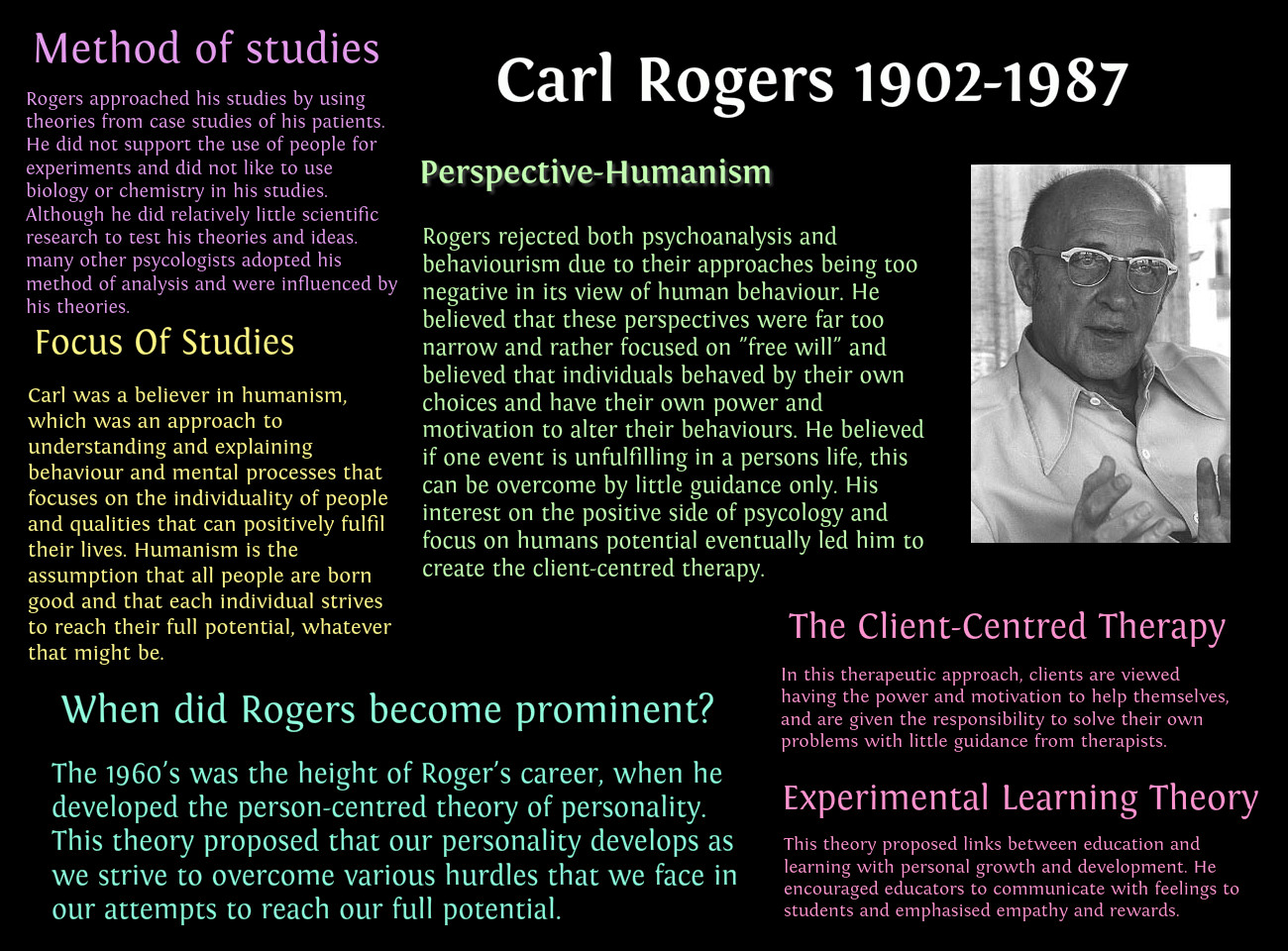 pros and cons of humanistic theory carl rogers According to psychologists, one of the advantages of the humanistic approach is the perspective that mankindâs nature is relatively good in addition, the approach emphasizes the ability of mankind to change at his free will.