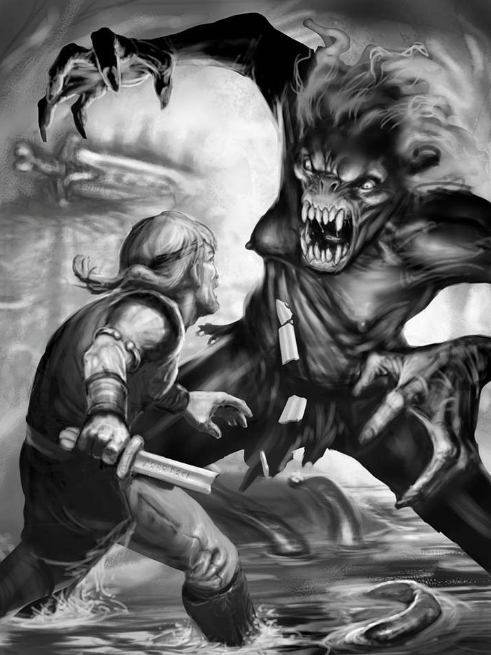 Of Monsters and Men: What Is the Grim Being Known as ... |Beowulf Fighting Grendel Drawing