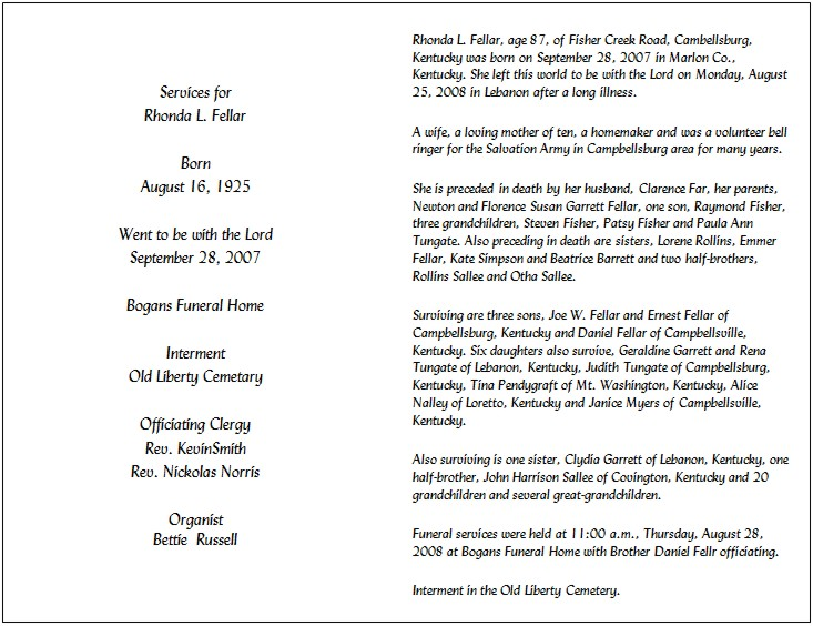 Sample Obituary For Mother Template from cdn.quotesgram.com