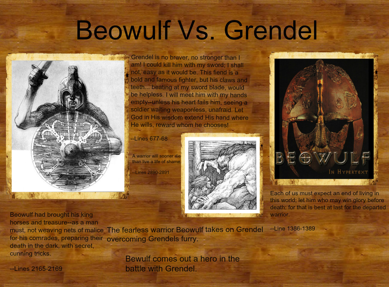 beowulf vs grendel essays Of the epic hero beowulf and the novelistic world of grendel to achieve  iki  makale de michael holquist'in the dialogic imagination: four essays by m m.