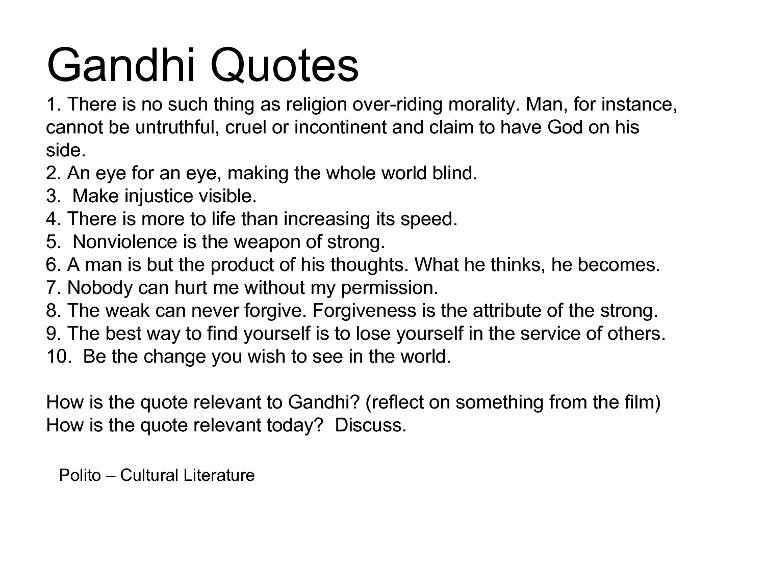 Quotes From The Movie Gandhi QuotesGram – Gandhi Movie Worksheet