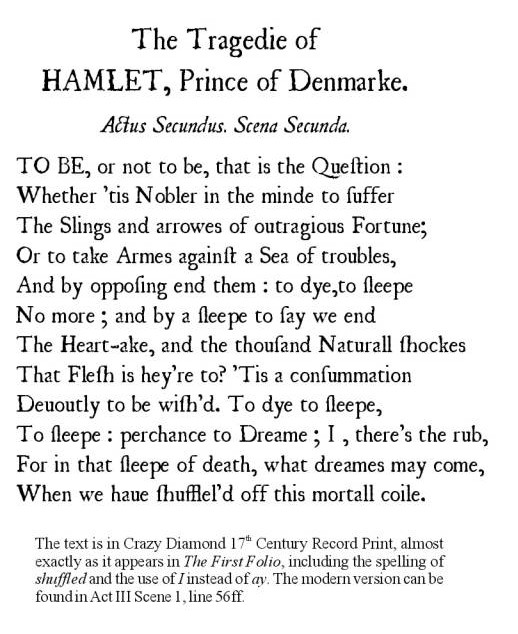 an analysis of a quote from hamlet a play by william shakespeare The play hamlet, written by william shakespeare, follows the journey of prince hamlet of denmark as he seeks revenge on his deceased uncle, claudius hamlet, which is also called the tragedy of hamlet, prince of denmark, was written by shakespeare between the years 1599 and 1602 this play is.