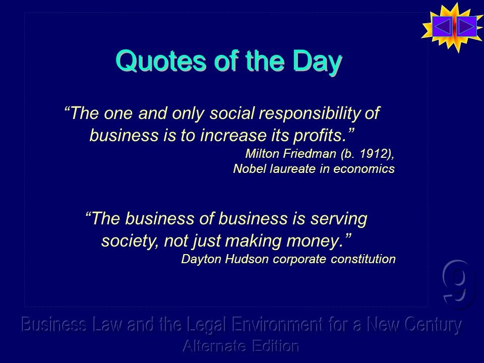 milton friedman the social responsibility of business is to increase its profits essay It happens very often when i speak about sustainability and corporate responsibility, and it happened again last week someone will ask me about milton friedman's famous quote: there is one and only one social responsibility of business -- to increase its profits.
