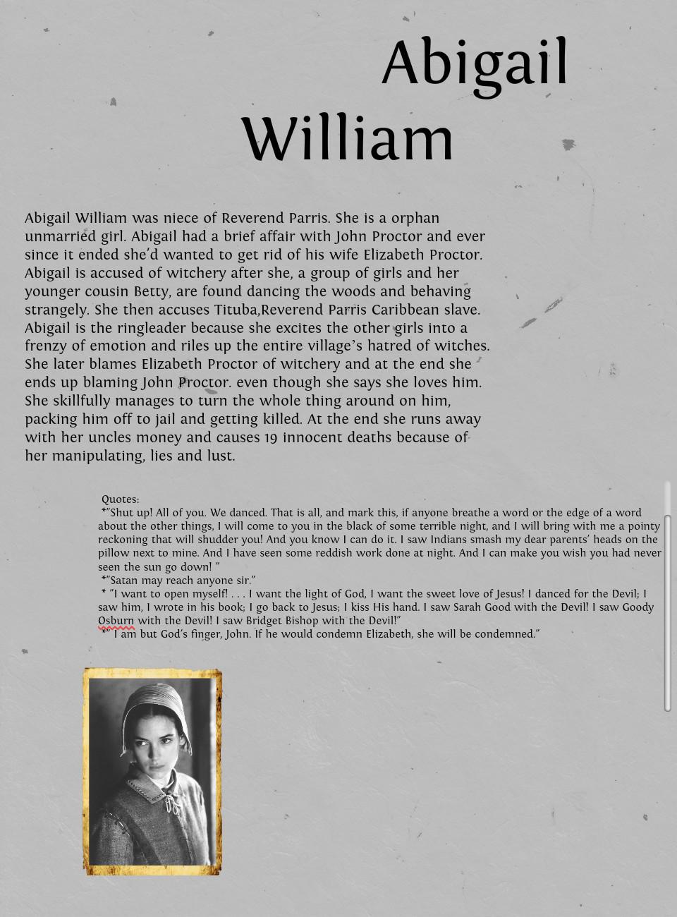 Abigail Williams Quotes About Elizabeth. QuotesGram