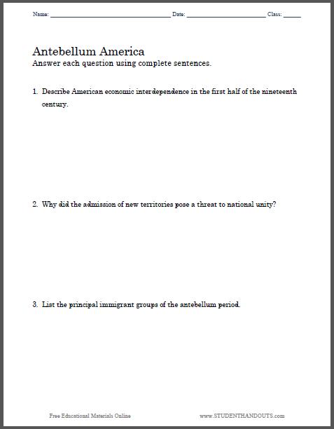 antebellum period dbq essay