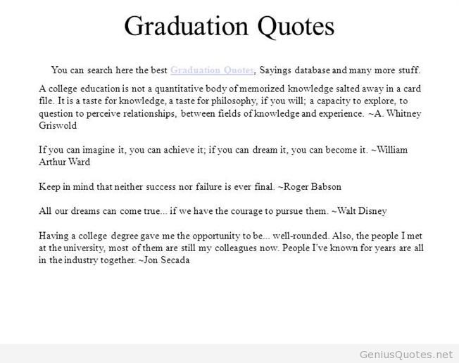 Graduation Quotes: College Graduation Quotes Inspirational. QuotesGram
