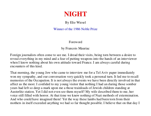Essay for night