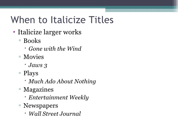 Do you underline essay titles