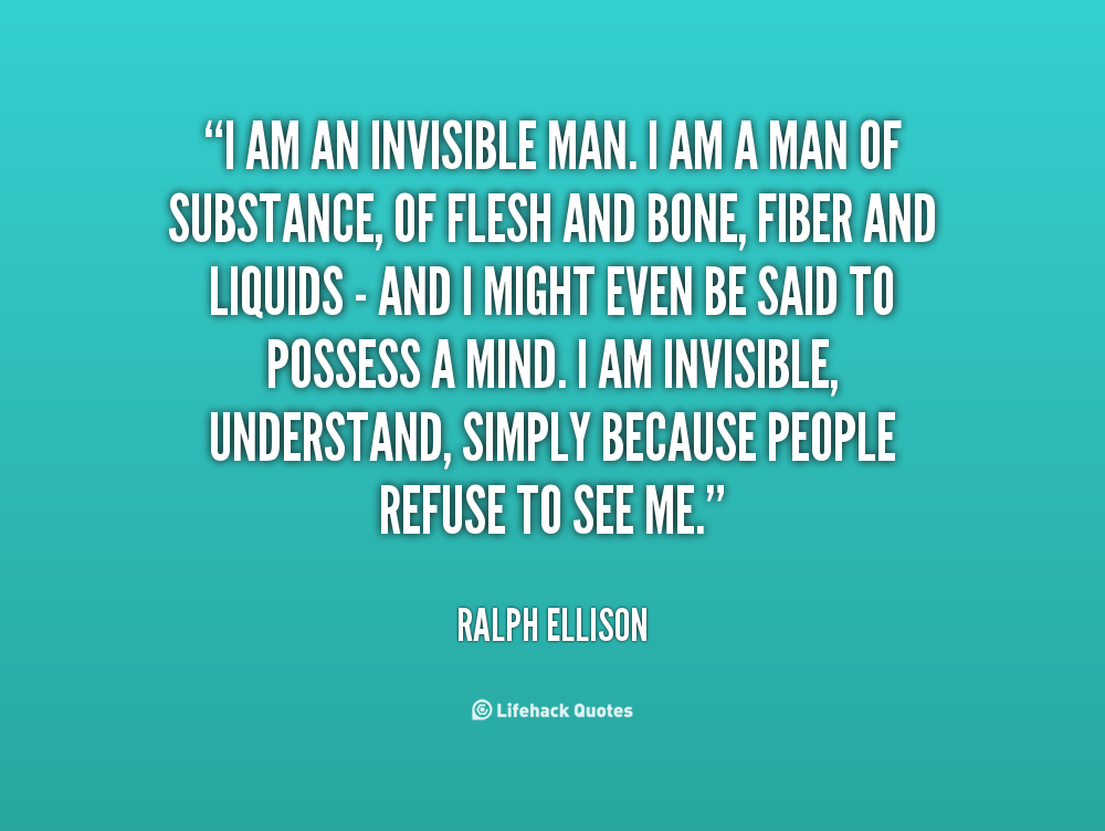 """ralph ellison the invisible man In ralph ellison's """"invisible man,"""" symbolism plays an excessively important role more specifically,  invisible man essay 9 september 2016 slavery."""