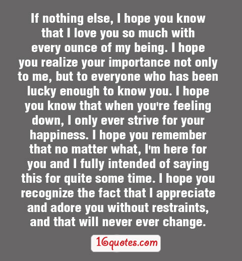 Sad Quotes About Love: I Love And Appreciate You Quotes. QuotesGram