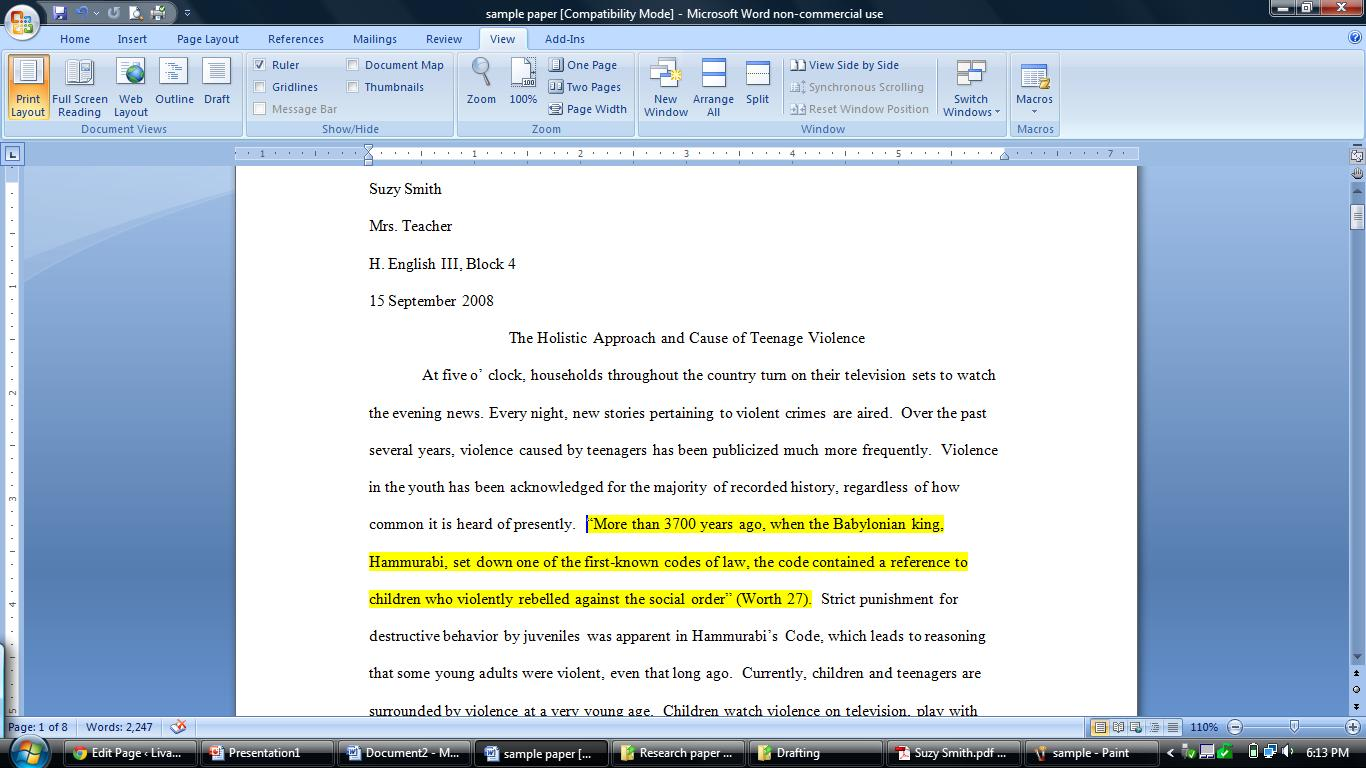 mla format website in text citation