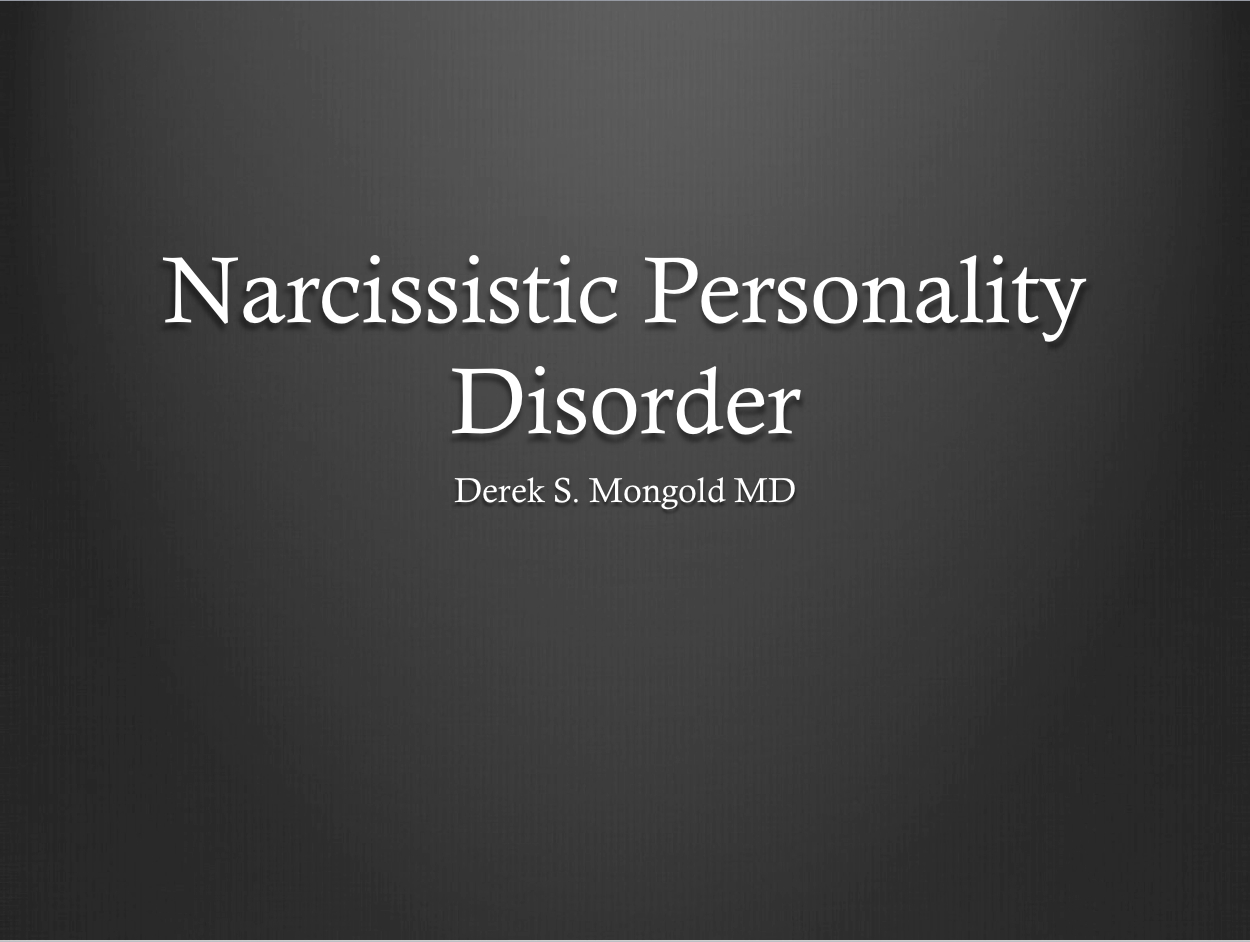 an essay on narcissistic personality disorder Narcissistic personality disorder research paper by jonathan ilunga sonoma state university abstract this paper will aim to define narcissistic personality disorder as a whole.