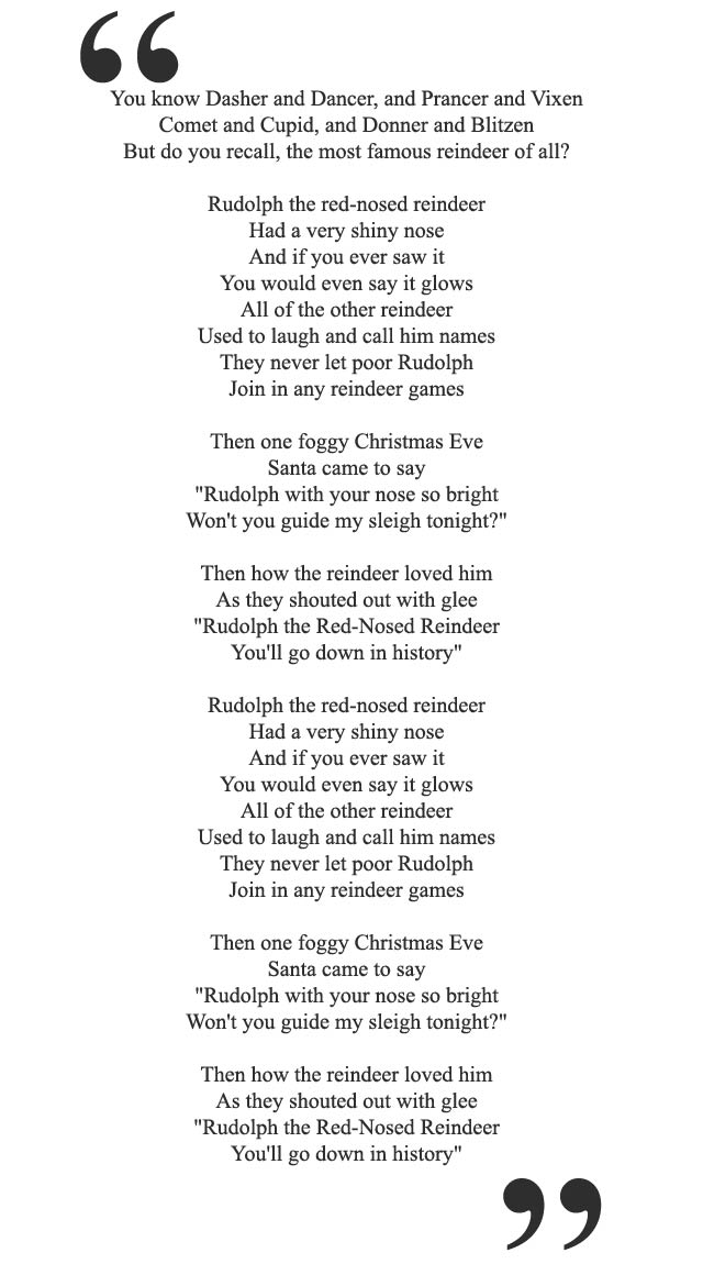 Declarative image regarding lyrics rudolph the red nosed reindeer printable