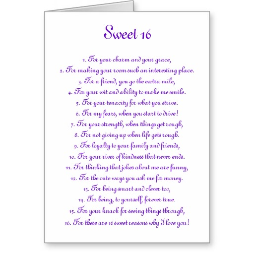 Sweet 16 Poems And Quotes. QuotesGram