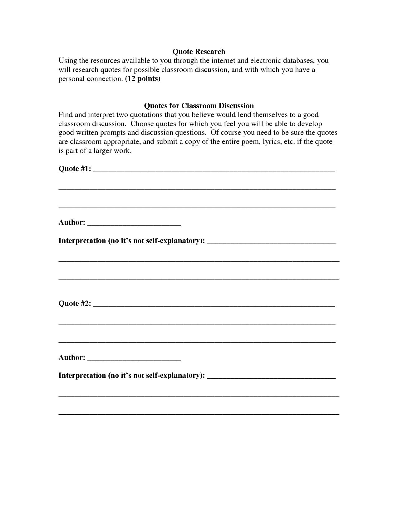 interpreting quotes worksheets quotesgram