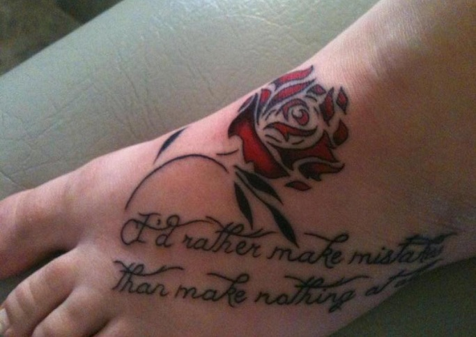Foot Tattoo Ideas Quotes: Flower Tattoos With Quotes. QuotesGram