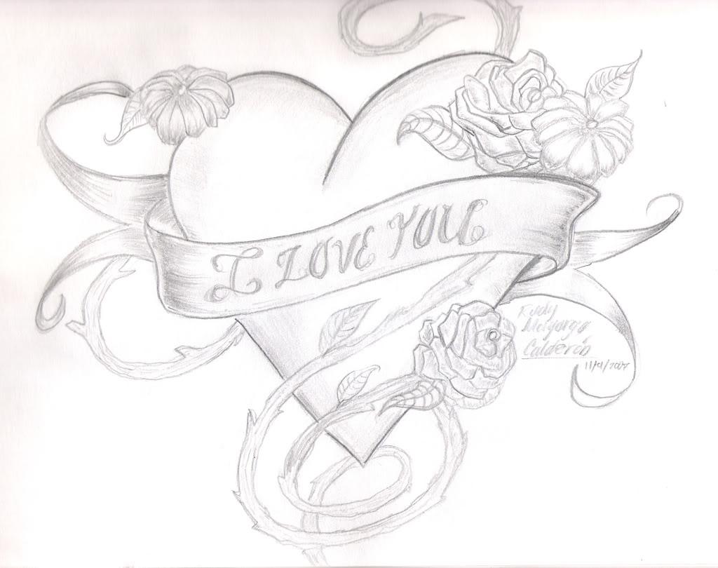 Красивые сердца рисунки карандашом для