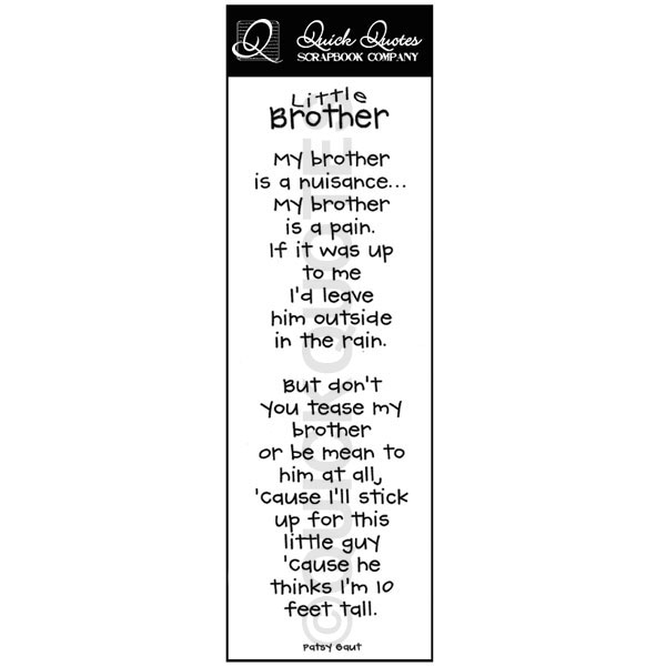 Little Brother Big Brother Quotes: Brother Quotes For Scrapbooking. QuotesGram