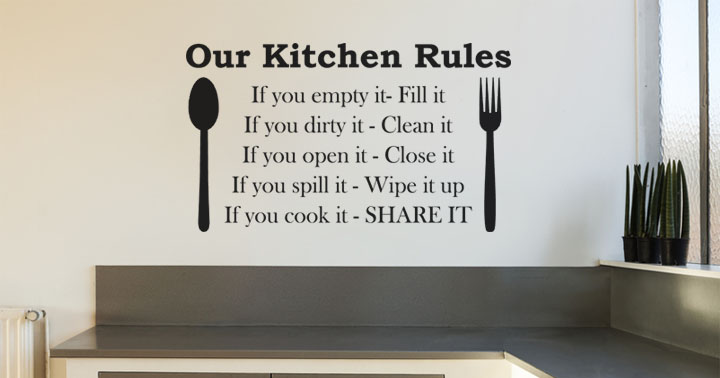 Quotes About Cleaning The Kitchen QuotesGram : 844984405 kitchen rules if you empty it fill it if you dirty it clean it if you open it close it kitchen wall art quote 3 1682 p from quotesgram.com size 720 x 378 jpeg 52kB