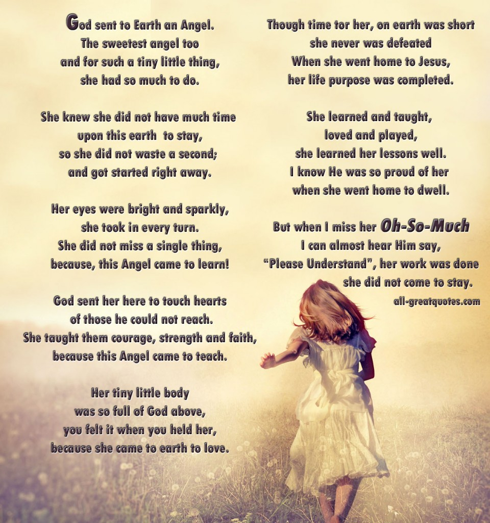 Poem Quotes: Memorial Angel Poems And Quotes. QuotesGram