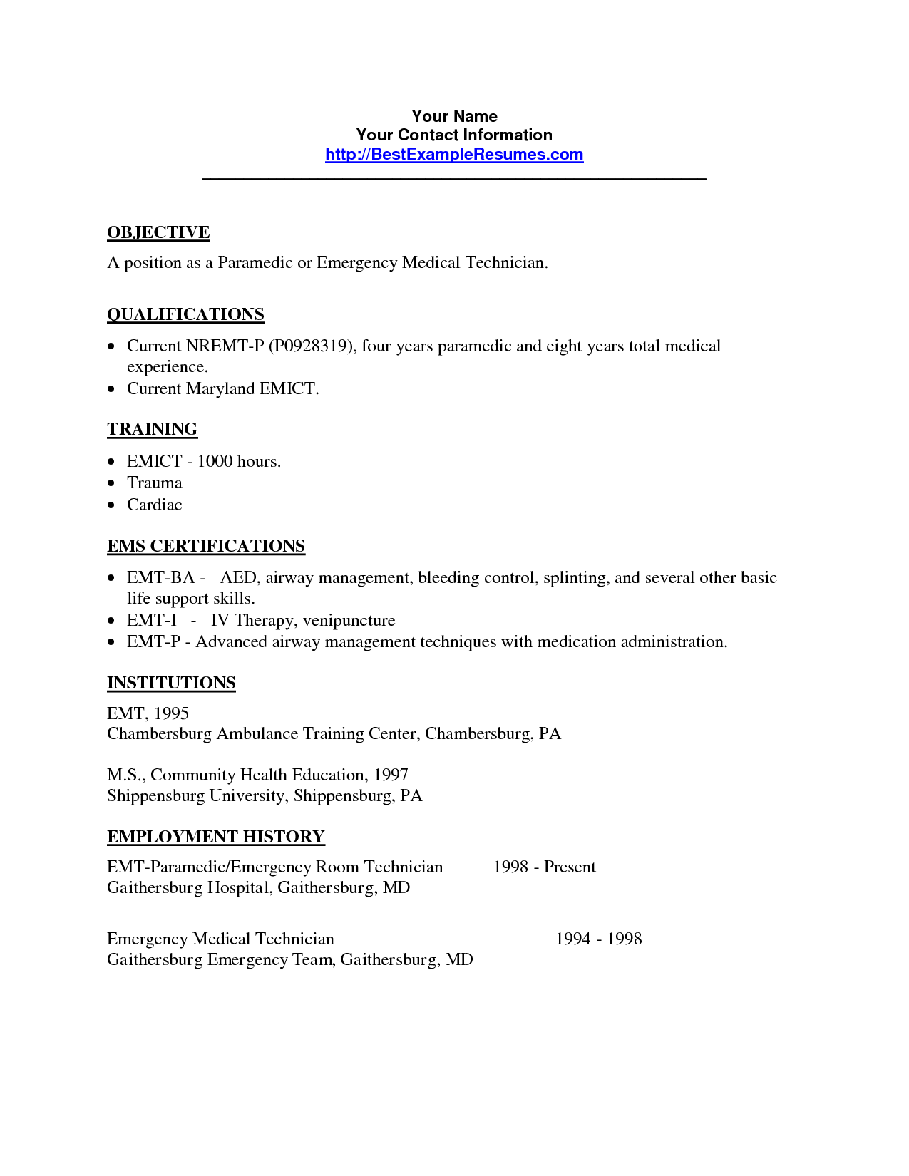 sample emt resume emergency room tech resume related keywords suggestions quotes resume examples quotesgram - Emt Resume Sample