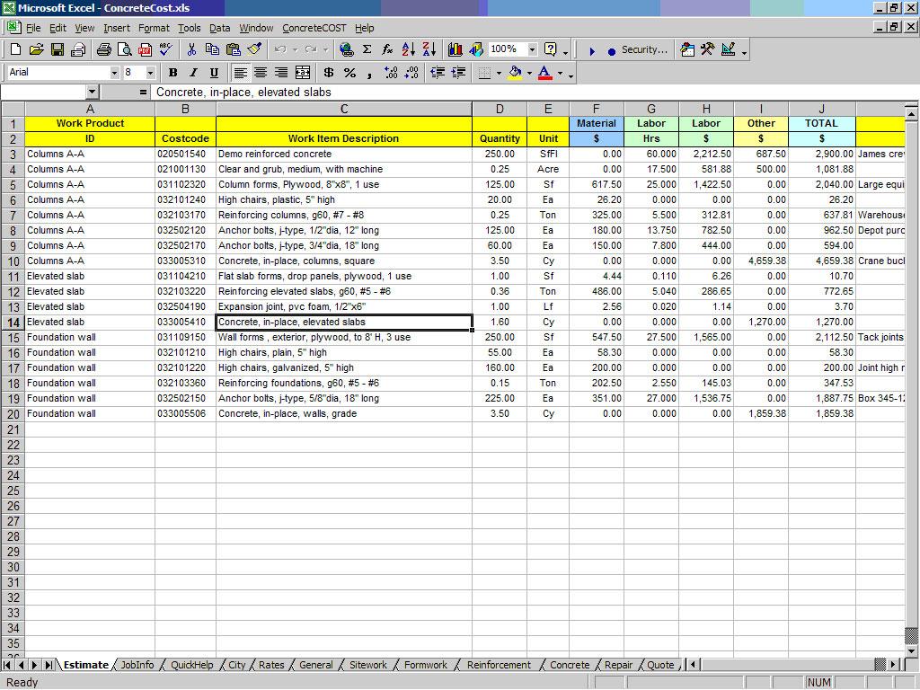 Doc578750 Cost Estimate Template Word Job Estimate Template – Construction Estimate Templates