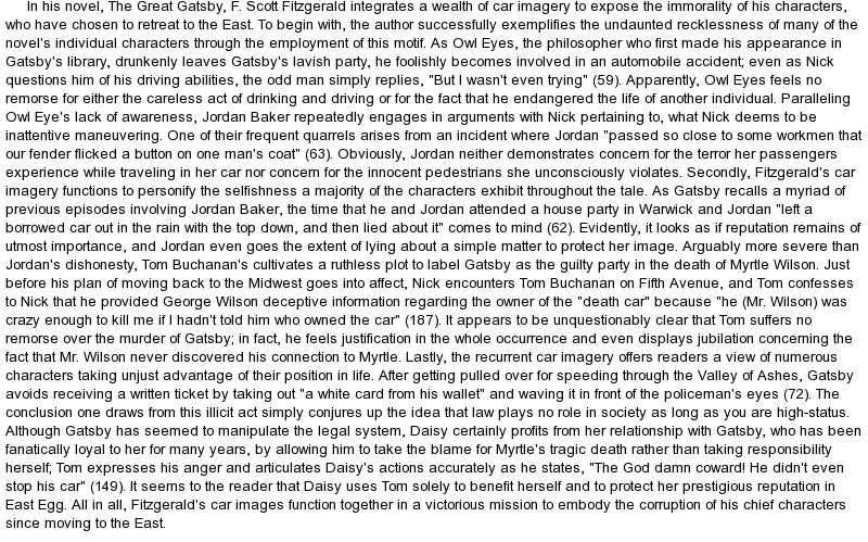 Great Gatsby Essay