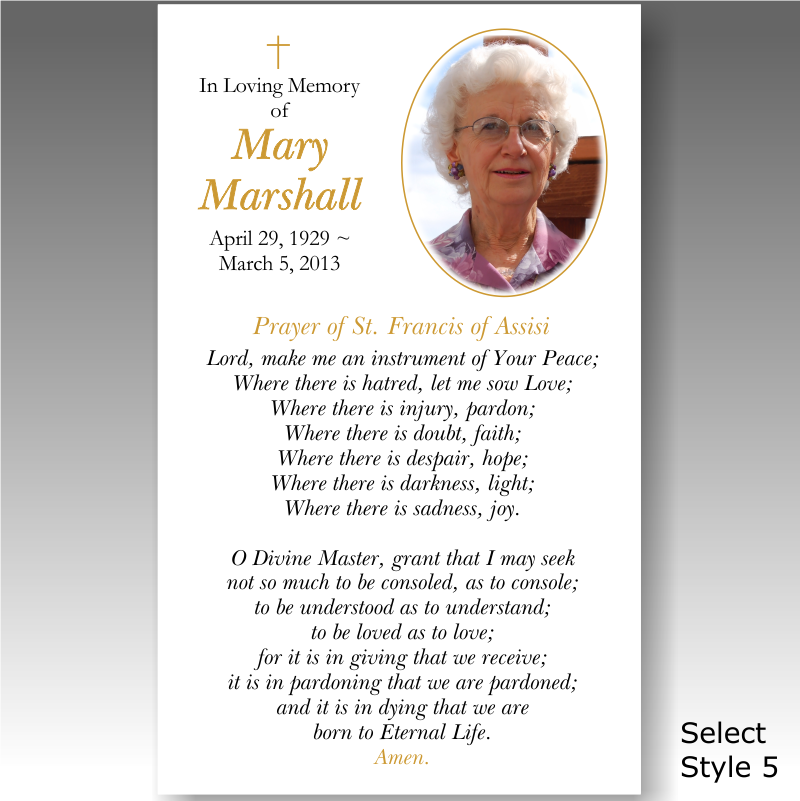 Custom Card Template » Memorial Prayer Cards Template - Free Card ...