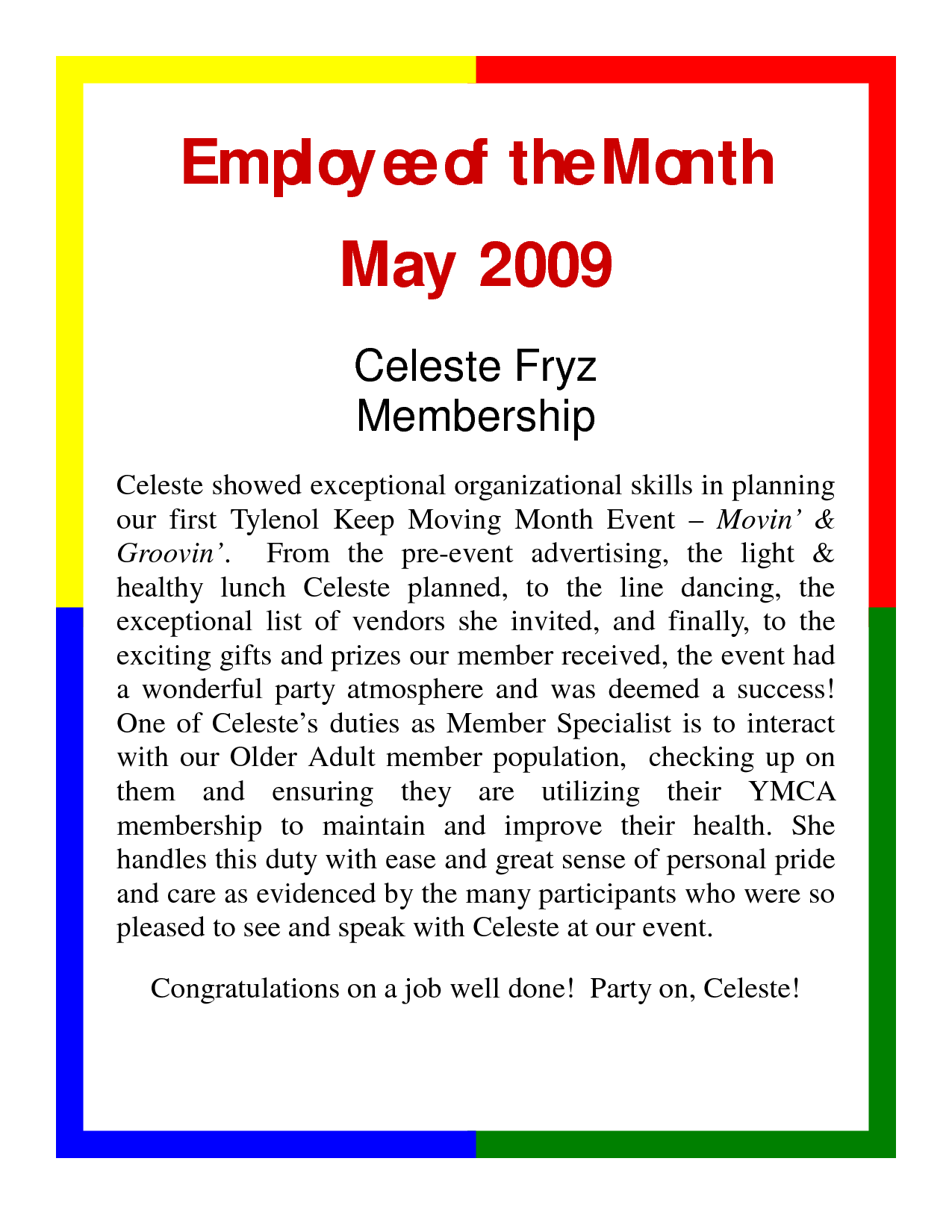 Employee Of The Month Nomination Example