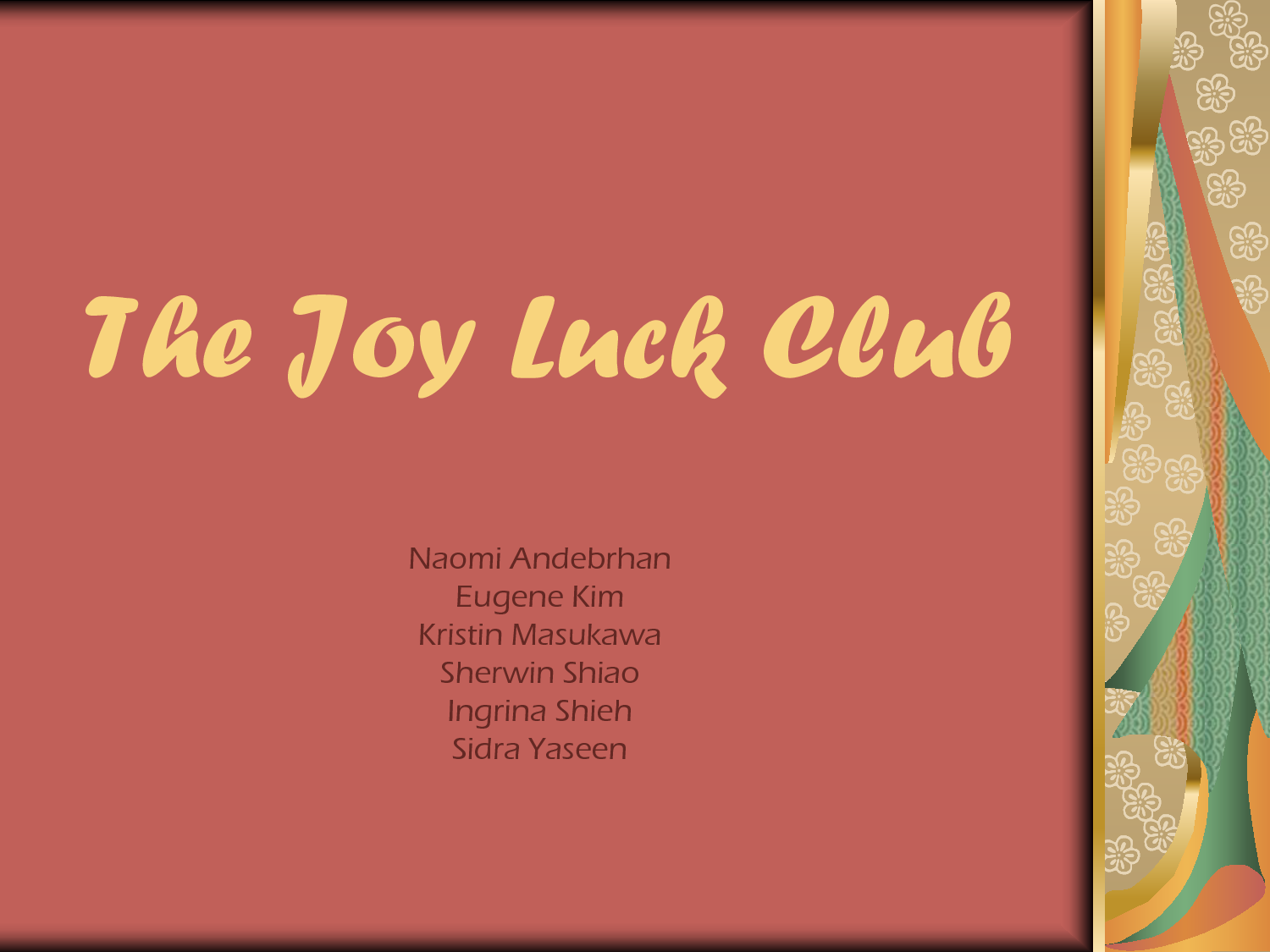 joy luck club conflict If you're looking for character development and a description of cultural conflict  between generations, this is your book i confess to being a little confused on the .