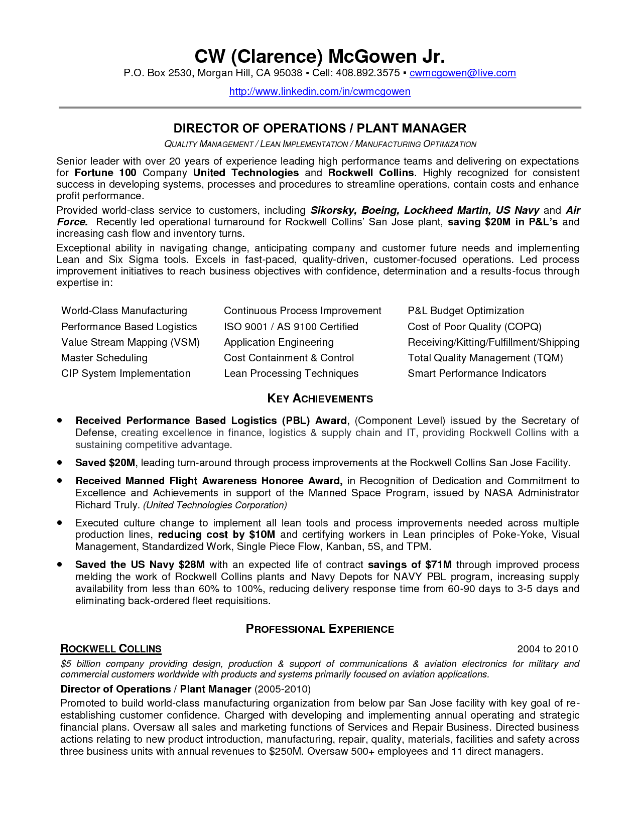 factory manager resume