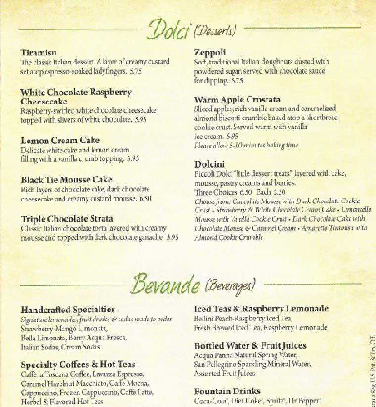 Olive Garden Food Menu