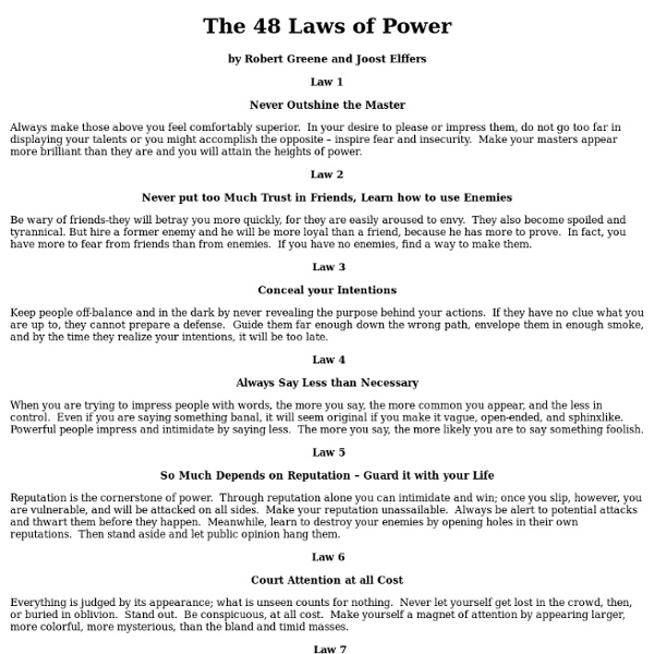 Robert Greene 48 Laws Of Power Quotes Quotesgram