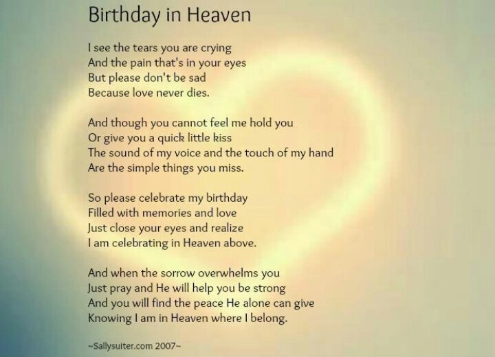 Birthday In Heaven Poems Quotes Quotesgram