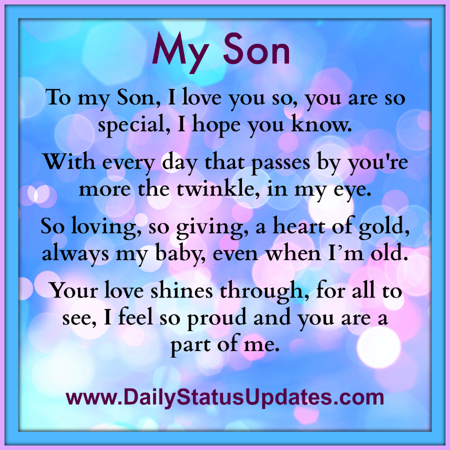 So In Love Quotes And Sayings: To My Special Son Quotes. QuotesGram