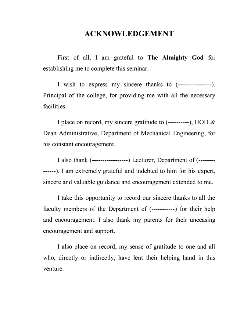 Best thesis acknowledgement sample