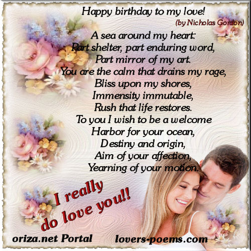 Boyfriend Birthday Sms: Happy Birthday My Love Quotes. QuotesGram