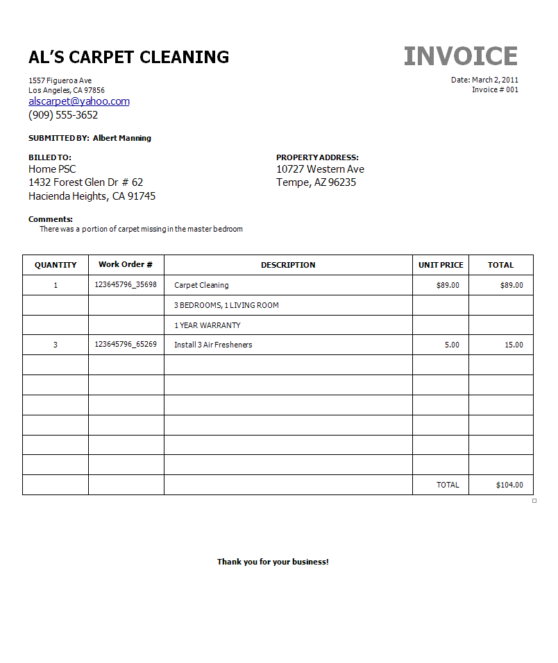 similiar carpet cleaning invoice sample keywords, Invoice examples