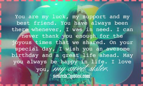Best Birthday Quotes For Sister Quotesgram