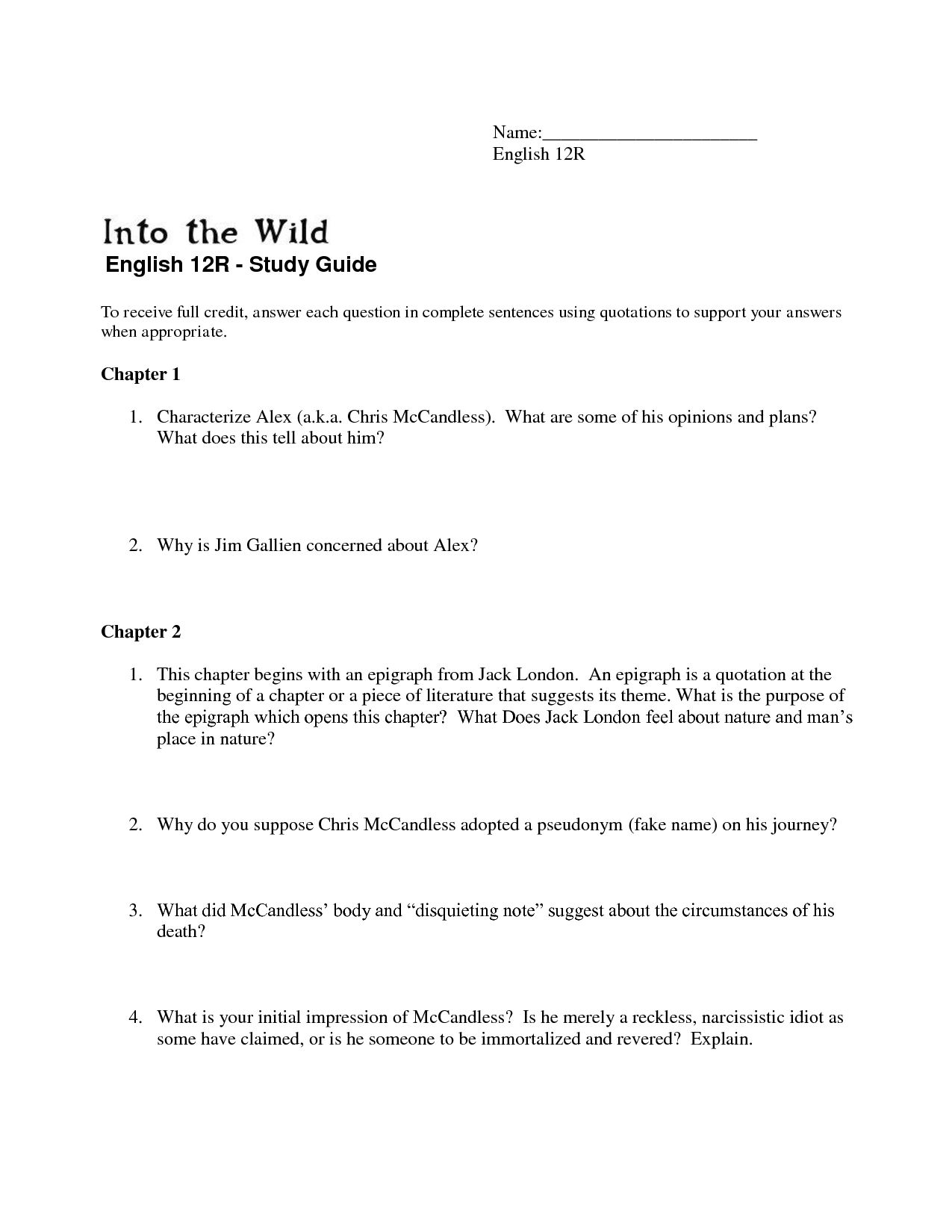 analytical essay on into the wild Today you will read two articles and watch a video about the survival of wild horses on literary analysis you can write an analytical essay.