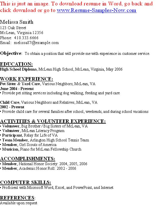 Resume for music student