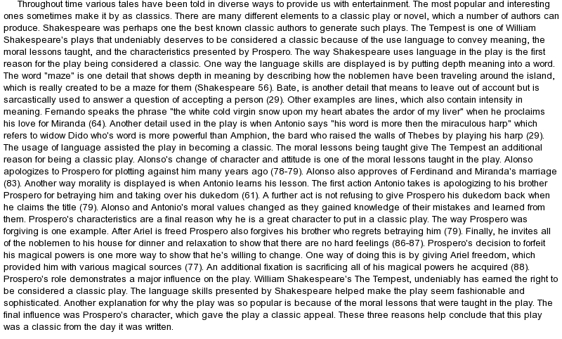 tempest essay caliban The tempest - how is caliban presented and what is his dramatic significance to the play - ghost writing essays.